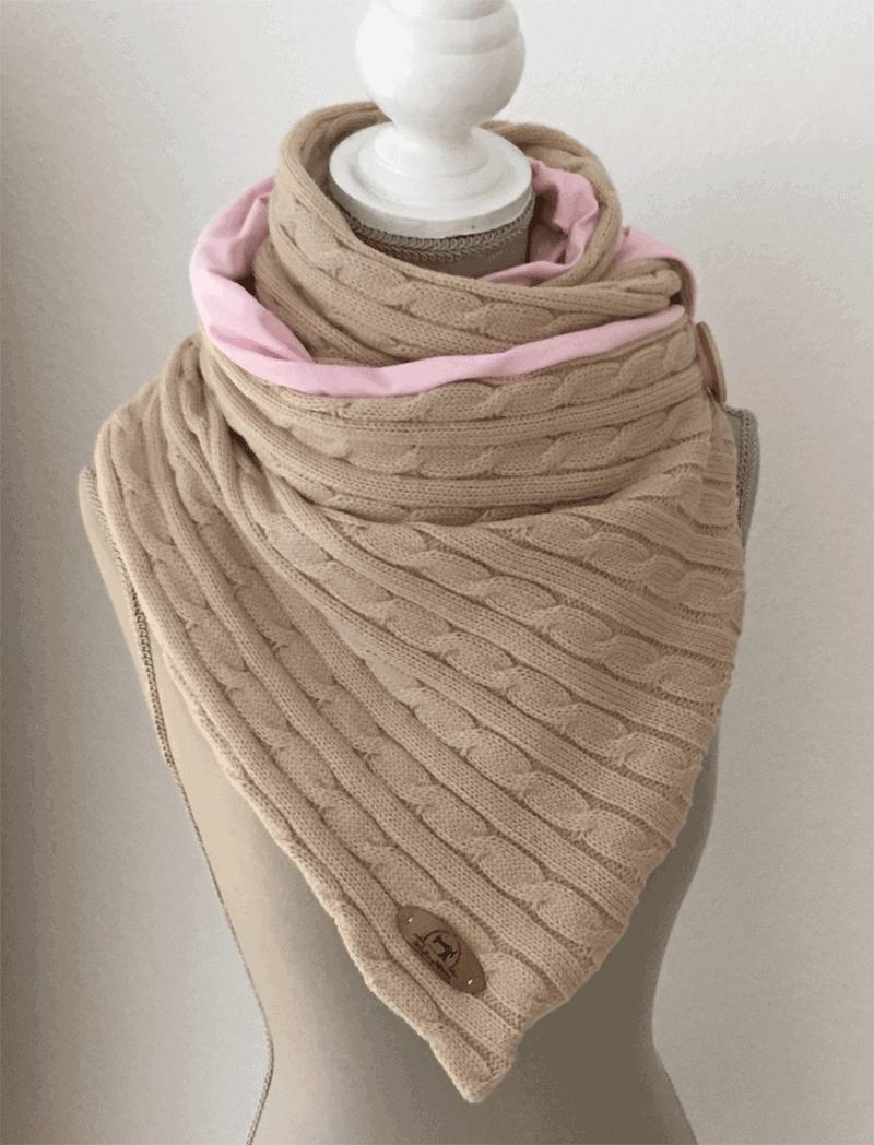 LieblingsStrickschal in beige/rosa