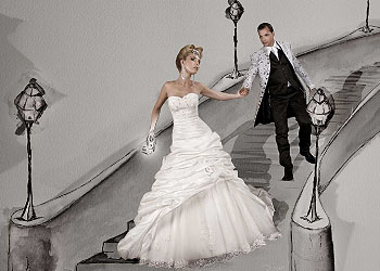 Kleid 'Cinderella' und Frack von Steinecker Moden; Bildquelle: www.brigittecorn.at