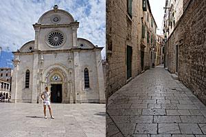Verwinkelte Gässchen und Kathedrale in der Altstadt