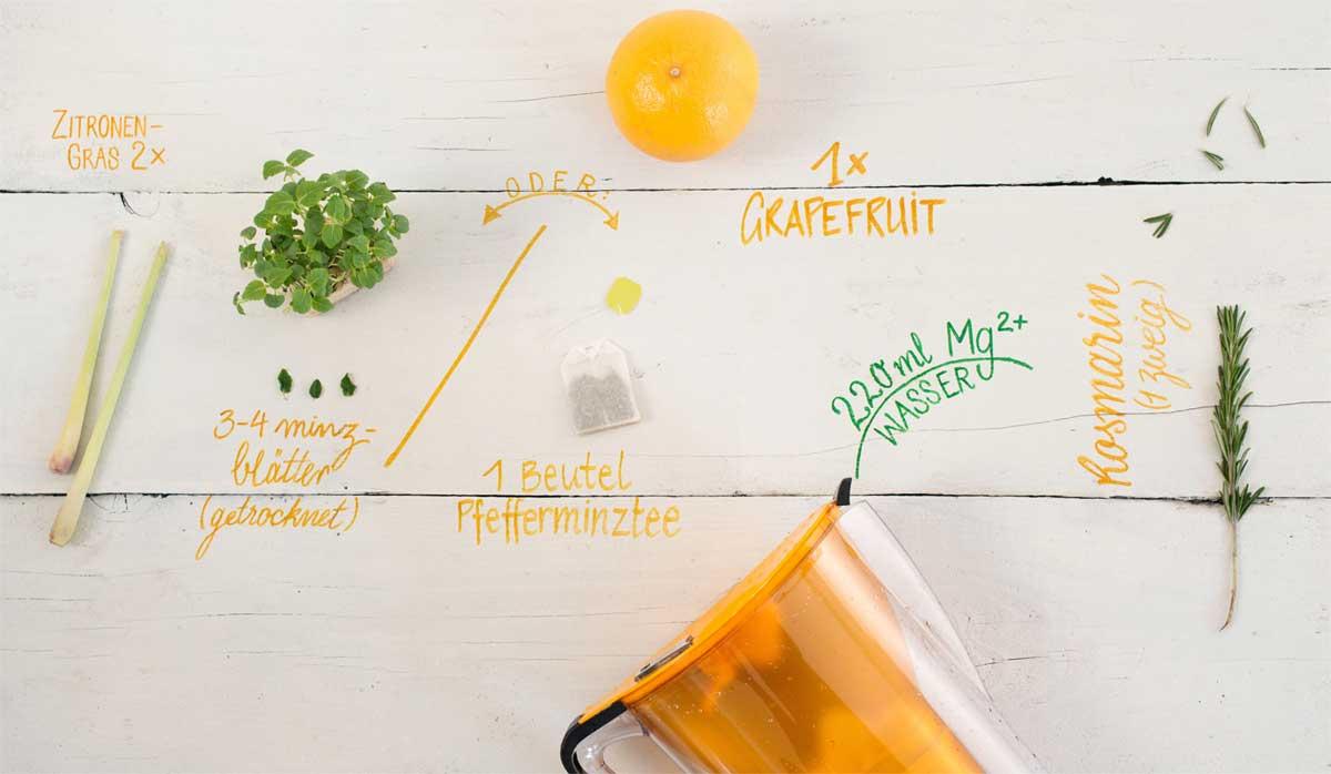 Zutaten für Grapefruit-Minz-Drink mit Rosmarin