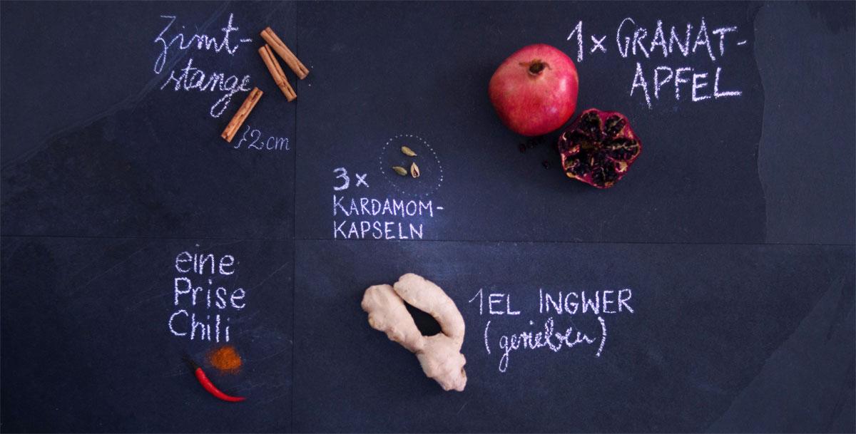 Zutaten für Granatapfel-Drink mit Chilipulver