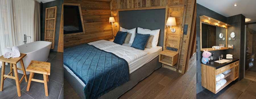 Bad und Schlafzimmer im Mondi Chalet © Heike Wallner