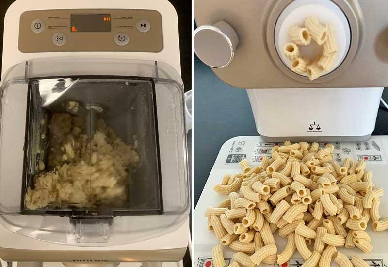 Der Pasta Maker während der Arbeit und das Endprodukt