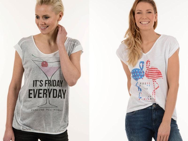 T-Shirt mit Cocktailglas oder Flamingos von Liberty Woman