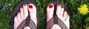 Schön auch auf den Fußnägeln