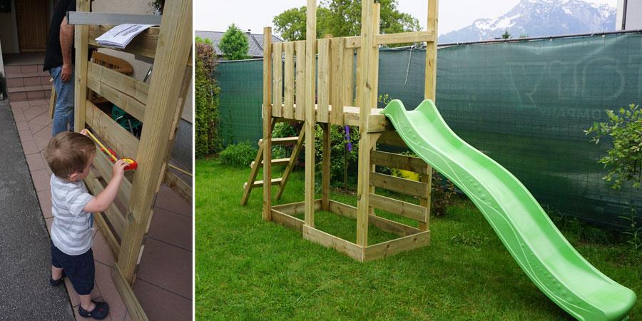 Klein und Groß packen an beim Aufbau des Spielturms.