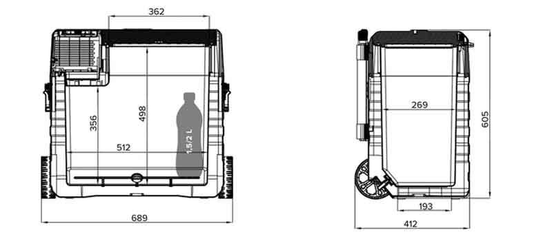Abmessungen der Magira Kühlbox