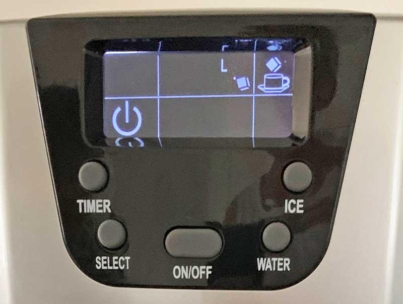 Display der Eiswürfelmaschine